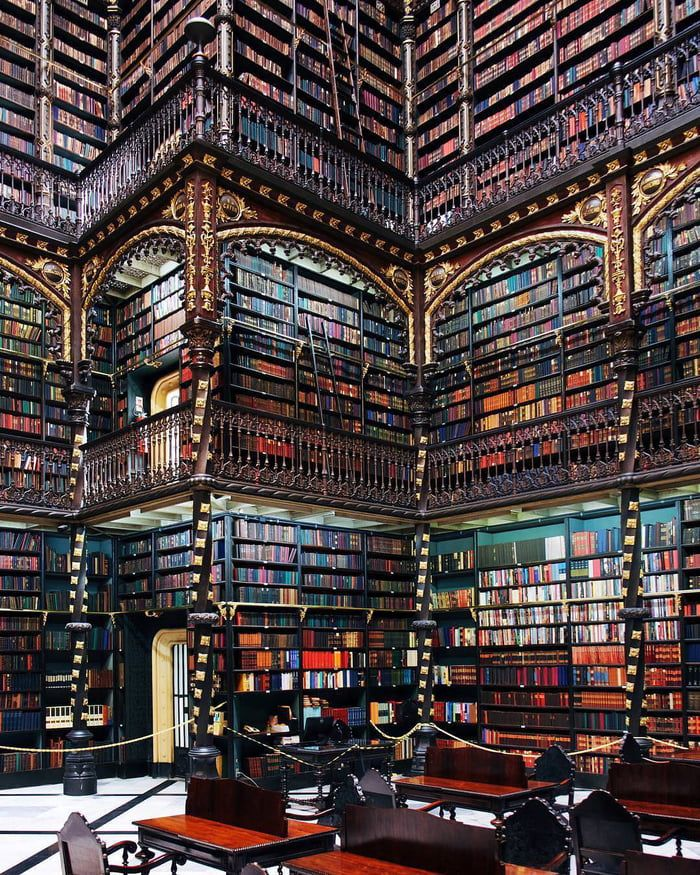 The Royal Portuguese Cabinet Of Reading In Rio De Janeiro Beautiful Library Home Libraries Architecture