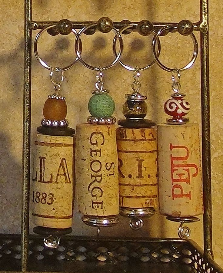 Unique, one-of-a-kind wine cork key chains
