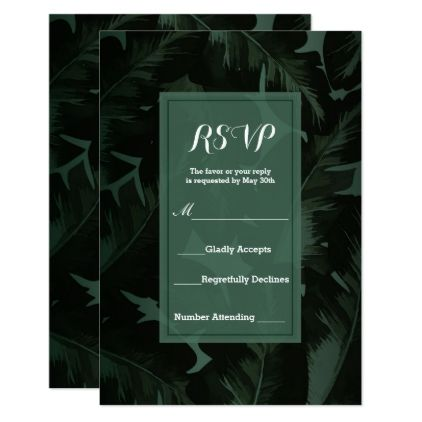 Green & Black Chic Tropical Leaves RSVP Reply Card - engagement gifts ideas diy special unique personalize