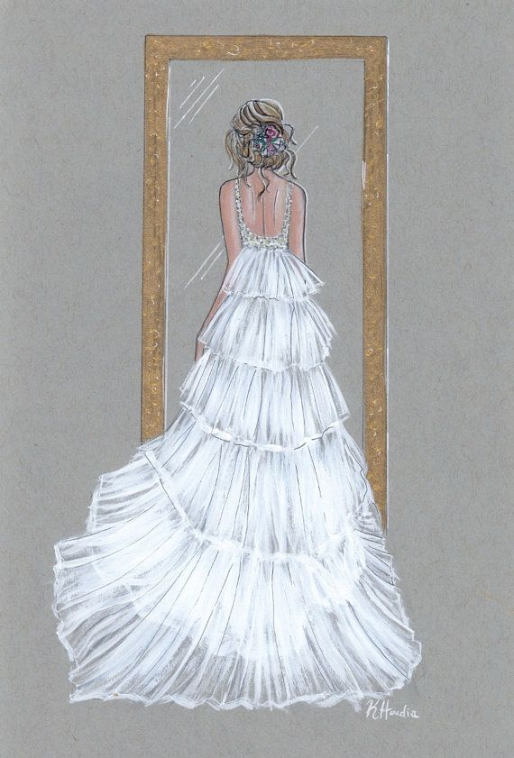 """Penelope Le Trésor - Prints - 8""""x10"""" - Various Sizes - Wall Art - Bridal Illustration - Gifts for her - Wedding Dress - Contact for Custom"""