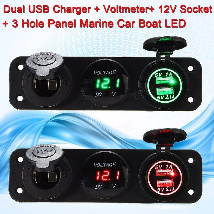 5V 3.1A LED Dual USB Charger Voltmeter 12V Socket 3 Hole Panel Marine Car Boat