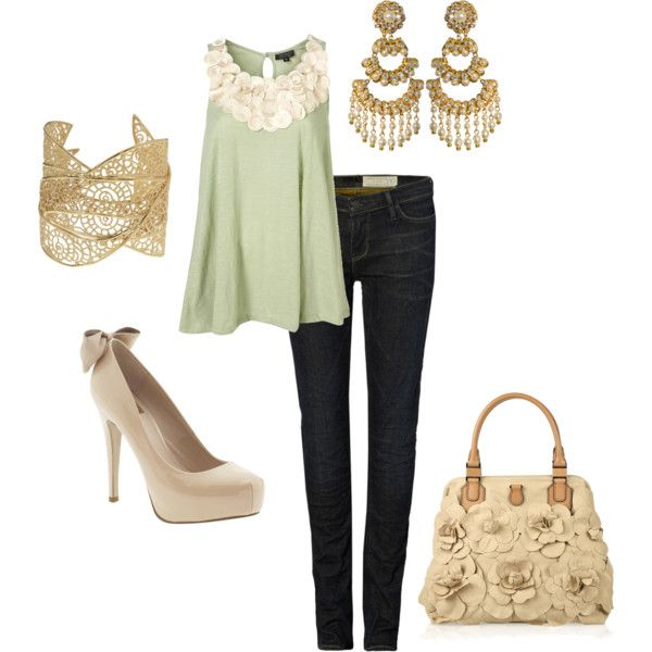 cuteDates Night Outfit, Green Tops, Fashion, Mint Green, Style, Colors, Dates Outfit, Jeans, Heels