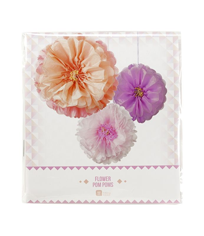 Eye-catcher   Deze prachtige bloemen PomPoms zijn een fantastische papieren decoratie voor elke ruimte in huis en een bijzondere aanvulling voor je feest.  Deze  Bloemen PomPoms wordt geleverd met 3 pom poms. Licht roze, paars en oranje .  Mooie aankleding voor feesten als bruiloften, doopfeesten, tuinfeest en decoratie voor in huis .