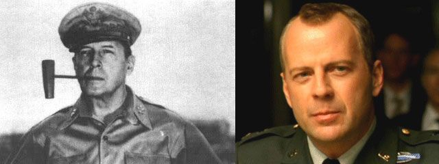 Genl Douglas MacArthur (left) – US Army General. Bruce Willis (right) – time traveller and actor (portraying a US Army General). See http://triviasa.co.za/2014/06/06/famous-time-travellers/