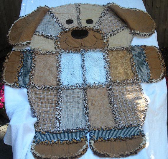 Rag Quilt Animal Patterns : DENIM RAG QUILT, Childs Rag Quilt, Dog Rag Quilt, Keepsake Quilt, Brown, Tan and Blue Print ...
