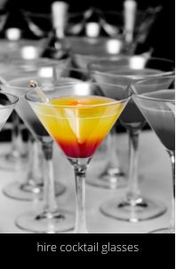 Hire cocktail glasses in Manchester www.hireabarman.com