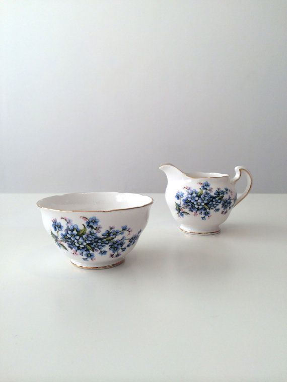 Vintage Royal Vale Bone China Forget Me Not Milk by celineandluna