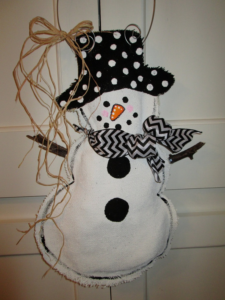 Full Body Snowman Burlap Door Hanger Door