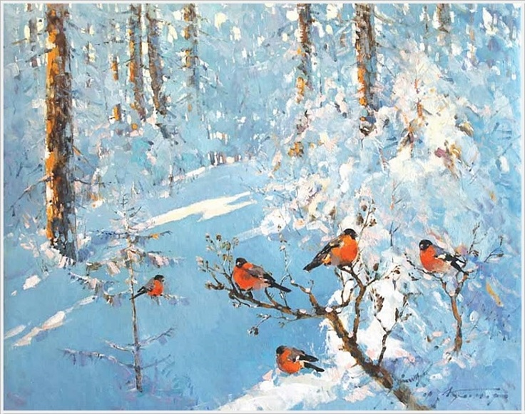 612 best winter, snow images on Pinterest | Oil paintings ...