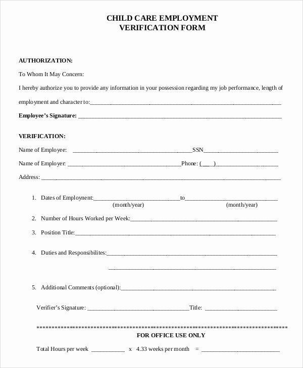 Employment Verification Request Form Elegant Sample Verification Of Employment Form 10 Examples Employment Form Sign In Sheet Template Donation Letter Template