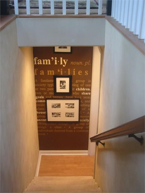 this is beautiful. a nice surprise on a small wall! Love typography: Decor Ideas, Families Wall, Basements Stairs Ideas, Bottom Of Stairs Decor, Finished Basement, Basements Staircases, Accent Wall Ideas, Pictures Wall, Accent Walls