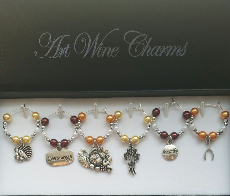 6 Thanksgiving themed Wine Charms, Thanksgiving, Fall Feast, Hostess Gift, Thankful, Gift, Turkey, Themed Party, Holiday, Party Favors by PickinsGalore on Etsy