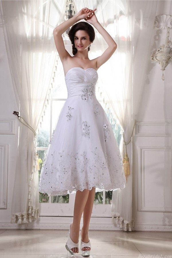 Fresh Sweetheart Knee Length Lace Applique Short Wedding Dress