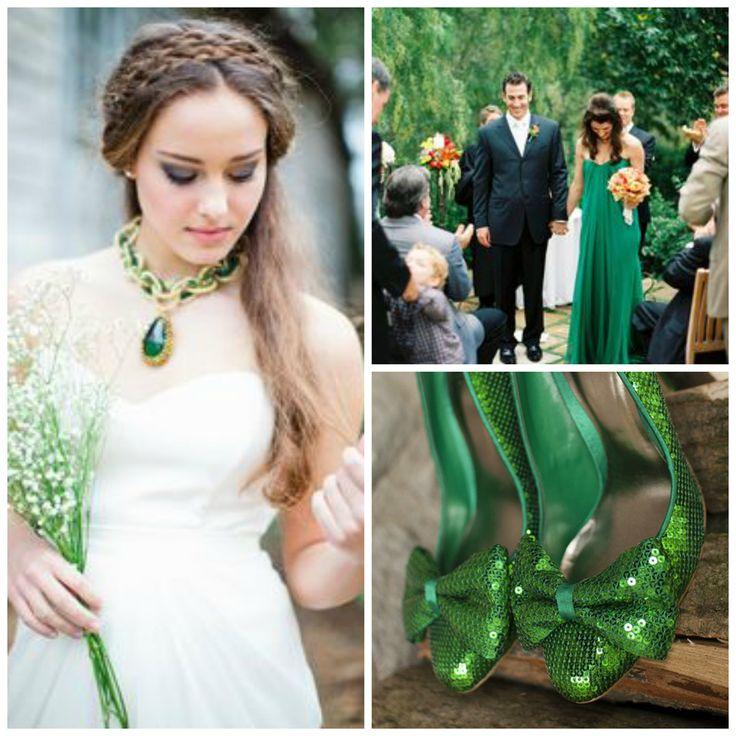 Robe de mariée vert émeraude
