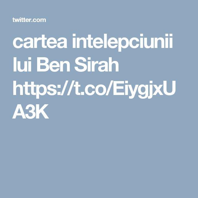 cartea intelepciunii lui Ben Sirah https://t.co/EiygjxUA3K