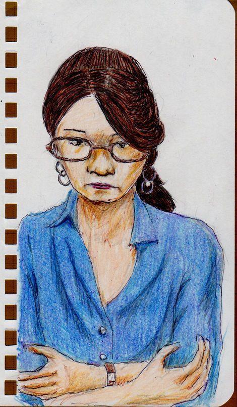 『青いシャツのお姉さん(会社でスケッチ)This is a sketch of a woman wearing a blue shirt. Painted in the company's offices.』
