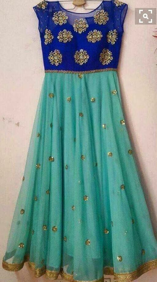 Handwork embroidery bring the best look in this floor length chiffon anarkali suit Size 42 with additional margin upto size 44""