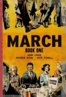 March, Book 1 by John Lewis, Andrew Aydin, and Nate Powell A vivid account of the early days of the Civil Rights Movement. This nonfiction graphic novel is the autobiography of John Lewis, and tells how he became involved in standing up for equal rights.