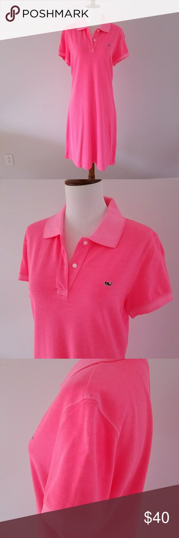 Vineyard Vines pink polo dress size medium Vineyard Vines pink polo dress in a size medium.  Neon pink coral color.  Whale logo at left chest.  100% cotton.    Bust is 19.5 in, shoulder to hem is 39 in.    Style 2Q0366 Vineyard Vines Dresses