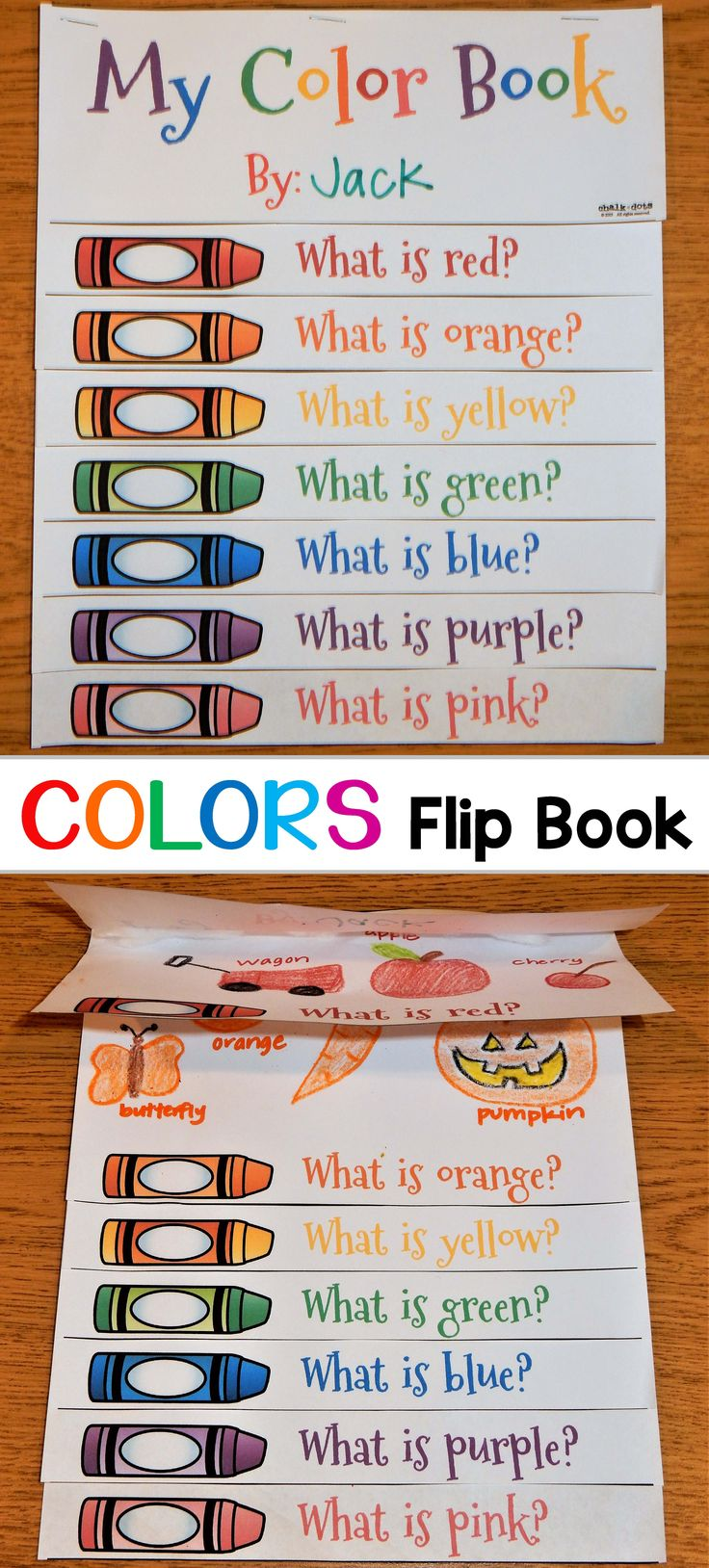 This fun color flip book is included in a crayon thematic unit that is fun to use any time during the year! It contains a variety of creative color activities that encompass many areas of the curriculum, such as reading, writing, math, and art!