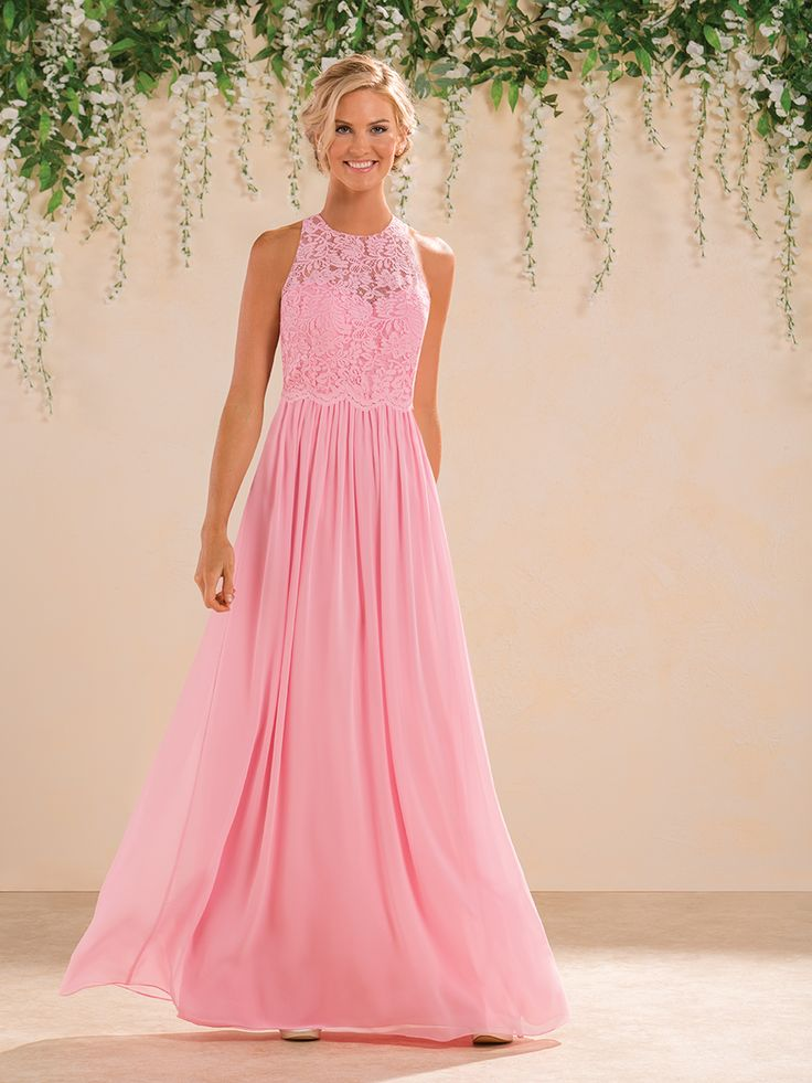 Love this pink bridesmaid gown with crochet top | @BridalPulse Bridesmaids Gallery | B2 Bridesmaids Collection | Floor Pink Sheath Illusion $$ ($101-250)