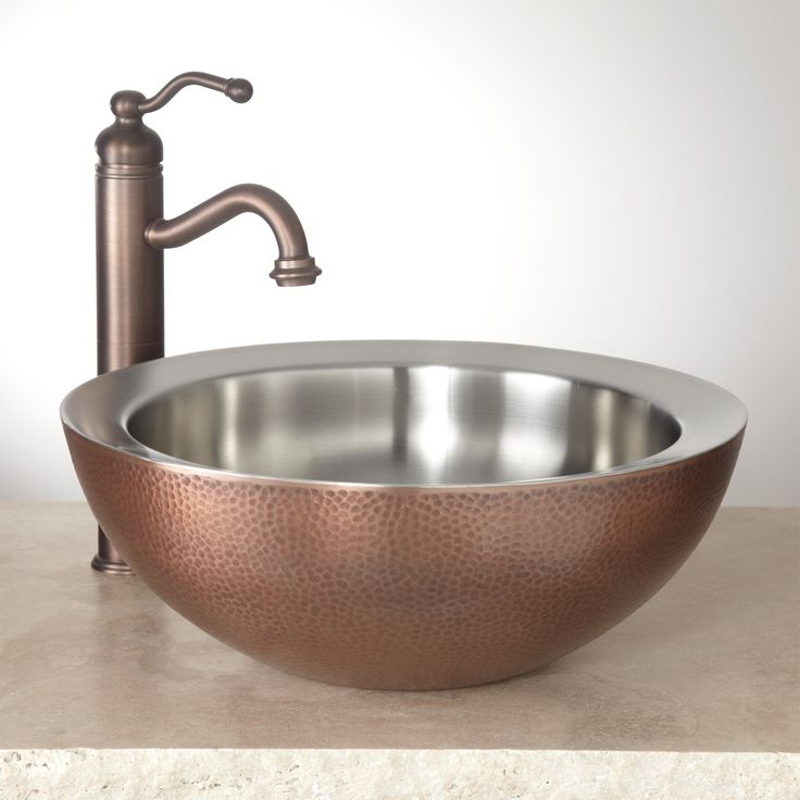 blane doublewall hammered copper vessel sink