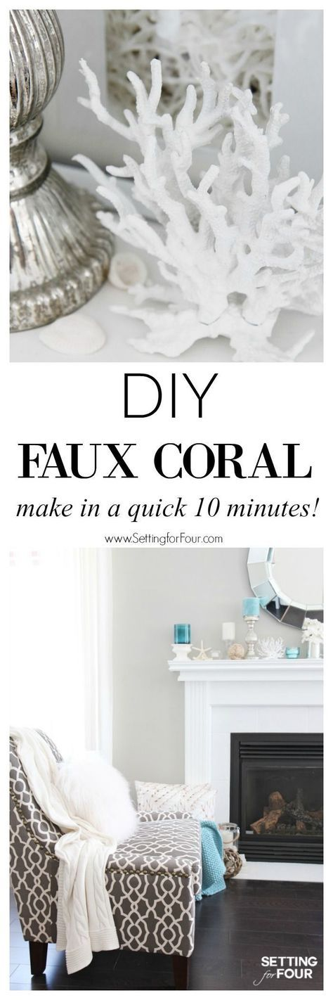 See how you can make this fast and fabulous 10 minute decor idea for your home! DIY Faux Coral inspired by Pottery Barn! Supply list, tutorial and styling ideas included! http://www.settingforfour.com
