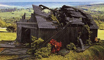 Branchline Trains Fallen Barn Laser-Art Kit -- O Scale Model Railroad Building -- #449