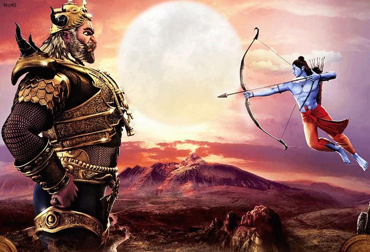 Lord Ram shooting arrow to Lord Ravan.