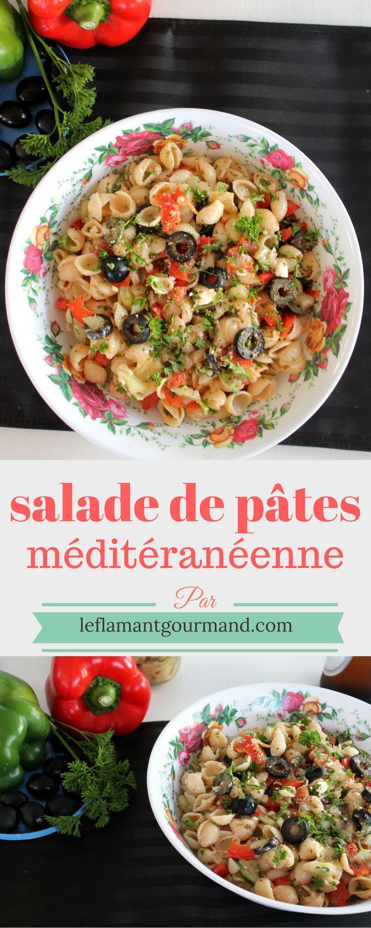 Salade de pâtes méditerranéenne et vinaigrette italienne maison | Le flamant gourmand