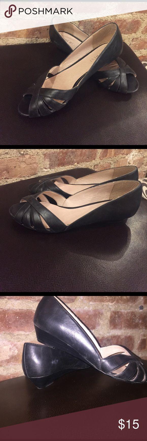 Black sandals littlewoods - 9 West Peep Toe Low Wedge Sandal