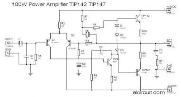 Power Amplifier circuit using Transistor TIP142 and TIP147 as a