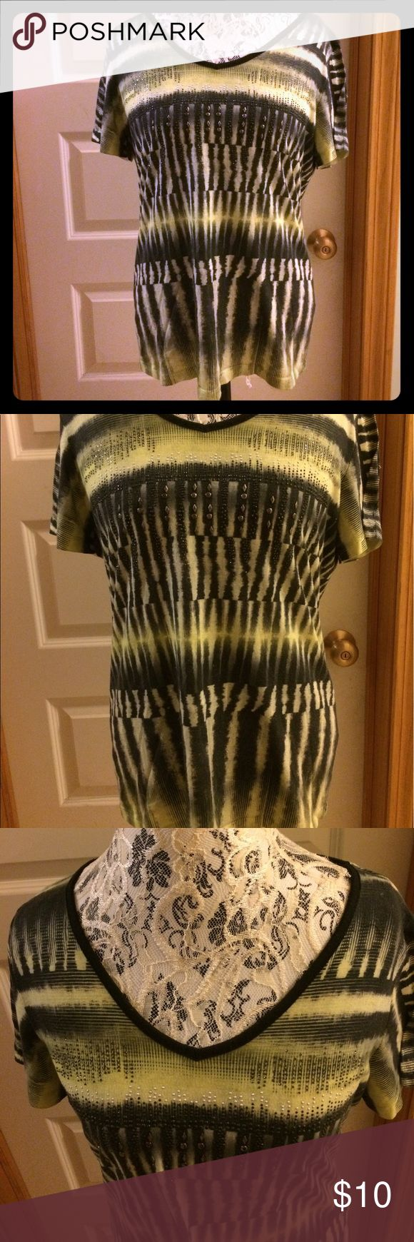 Unique t shirt Unique t-shirt with cool pattern and rhinestone/jeweling details on front.  No known flaws.  Only problem is me- I can't tell if the top is green or yellow lol- bright shade of one of those at least. Christopher & Banks Tops Tees - Short Sleeve