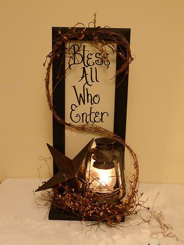 Frame Sign Shelf Railroad Lantern Country Primitive Home Decor Barn Star | eBay