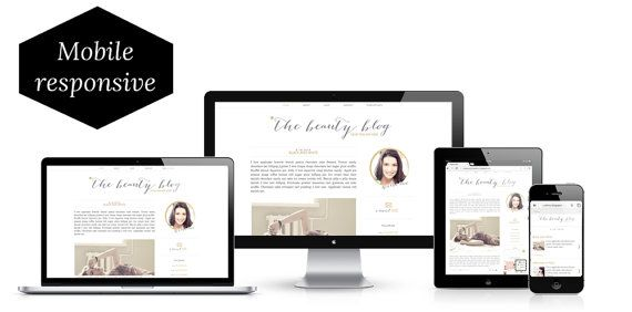 This gorgeous premade blogger blog template features a soft gold and grey theme with all sorts of fun touches like a sticky navigation bar, email