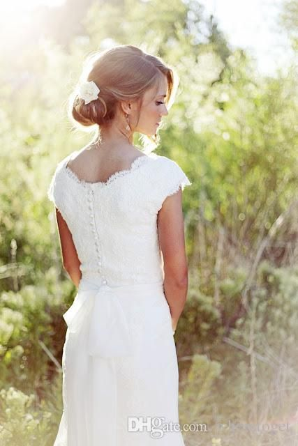 2015 Simple A Line V Neck Lace Chiffon Short Sleeve Wedding Dresses Sweep Train Cheap Bridal Gowns Custom Made