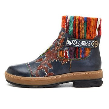 SOCOFY Bohemian Color Match Pattern Ankle Flat Leather Boots