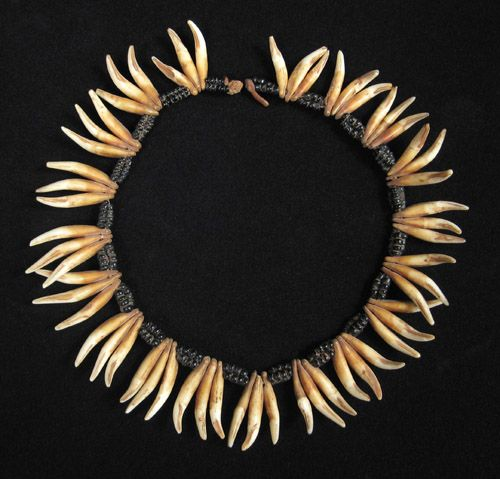"African Tribal Art - Dog's teeth necklace, South Africa. Dog's teeth and black blass, 14"" long. Early to mid-20th century"