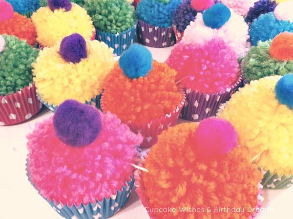 Cupcake Wishes & Birthday Dreams: {Cupcake Monday} Yarn Pom-Pom Cupcake Garland...why not make these for dramatic play?  I would have loved these as a child!