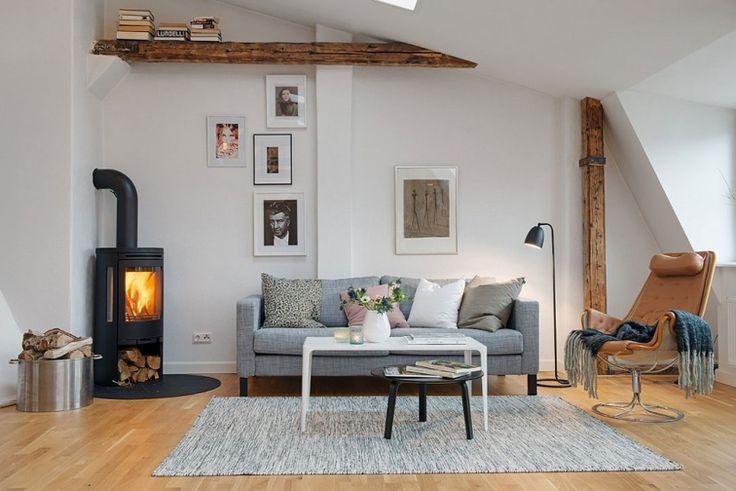 Interieur met houten balken - Stripesandwalls.nl
