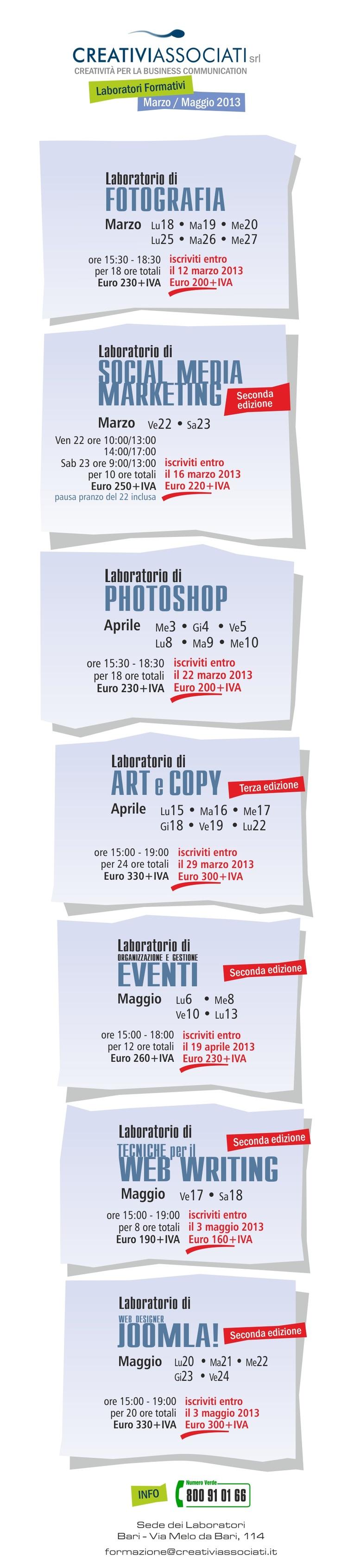 Online il Calendario dei nuovi Laboratori Formativi di #creativiassociati  http://on.fb.me/YBwhcj  #photography #socialmedia #social  #marketing #art #copy #eventi #web #webwriting