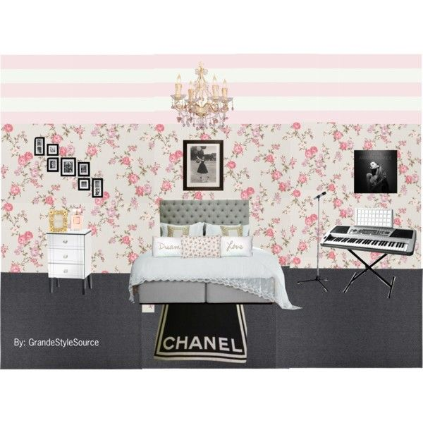 Ariana Grande Inspired Bedroom by lilredvelvet on Polyvore featuring interior, interiors, interior design, ev, home decor, interior decorating, Chanel, Cath Kidston, Graham & Brown and Zara Home