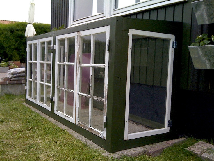 DIY greenhouse with with used old danish  windows. For some tomatoes plus herbs and spices.