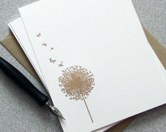 My logo is a dandelion so I love these. Dandelion Flower Letterpress Camel Tan Taupe Beige by sweetharvey, $18.00