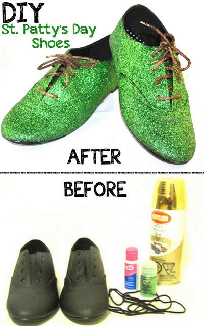 Get ready for St. Patricks Day with these Green Glitter Shoes! Become a leprechaun!  (What is the gold for?)