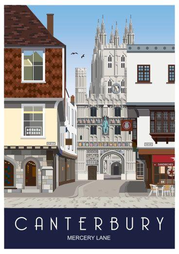 CANTERBURY. Travel poster of Mercery Lane by WhiteOneSugar on Etsy