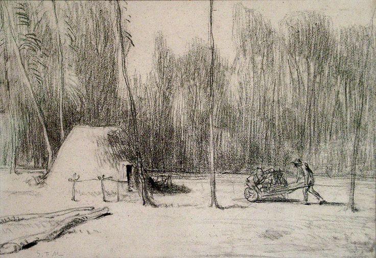 https://flic.kr/p/vSYe9L | Jean-Francois Millet – 'The Charcoal Burner's Hut' (Charcoal)