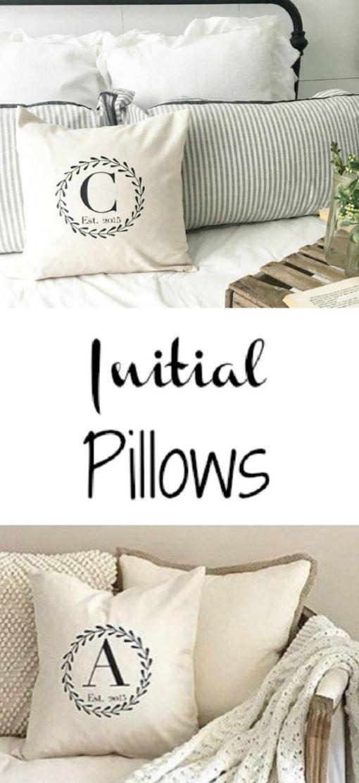 initial pillow. est pillow. pillow cover. custom pillow. farmhouse. wedding gift. house warming gift. monogram gift #home #ad