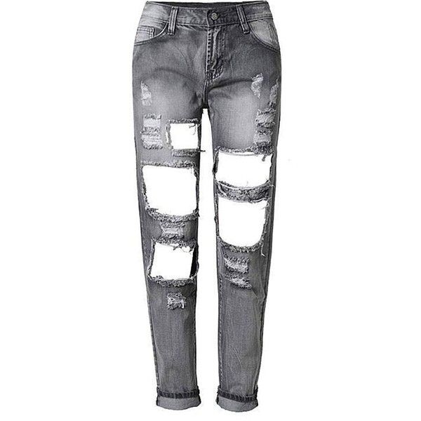 Yoins Skinny Jeans With Shredded and Open Rips ($38) ❤ liked on Polyvore featuring jeans, pants, bottoms, trousers, grey, stretchy skinny jeans, stretch jeans, destroyed skinny jeans, grey ripped jeans and destroyed jeans