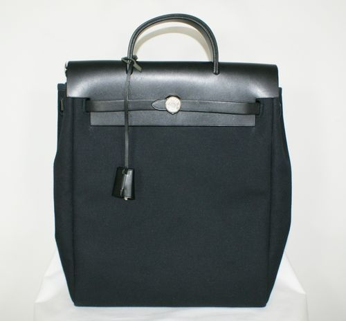 AUTHENTIC HERMES Herbag Black Canvas Leather Strap 2 in 1 Backpack ...